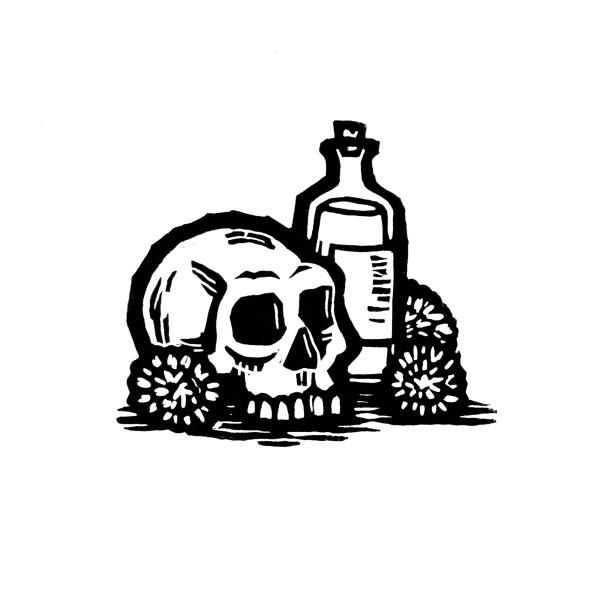 Skull & Bottle by Jenn Rodriguez