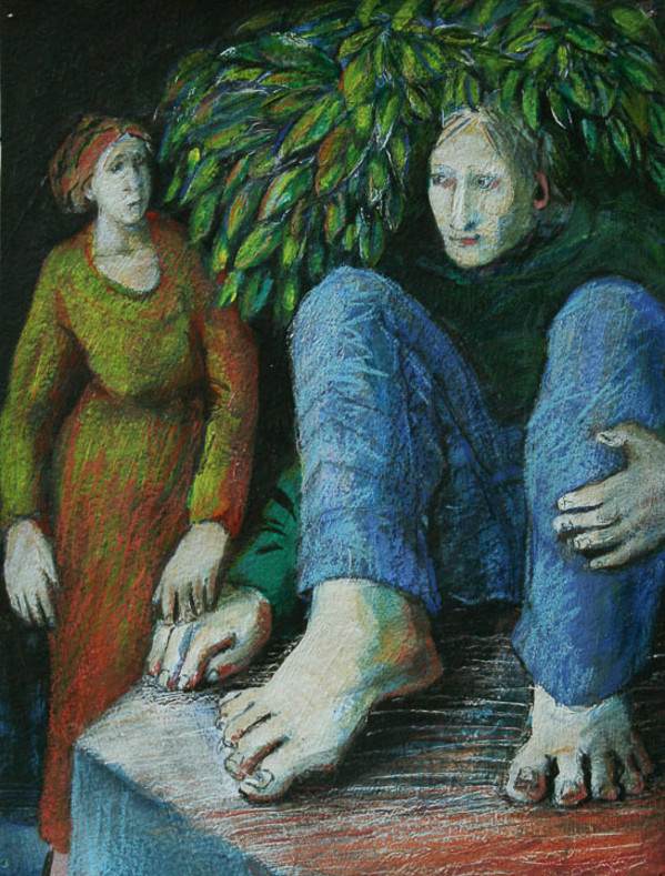 Woman and Man with Leaves by Eve Whitaker