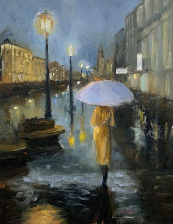 Yellow Lady in the Rain by Liz Shepherd