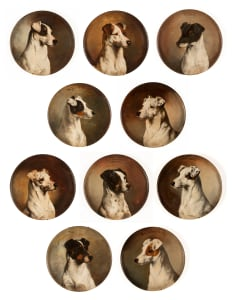 10 Hand-painted plates depicting Fox Terriers?
