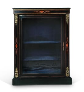 French Ebonized Small Bookcase with Marquetry Inlay and Bronze Decoration, 19thC