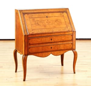 French Biedermeier-style Burlwood Slantfront Ecritoire with Marquetry Inlay, 19thC