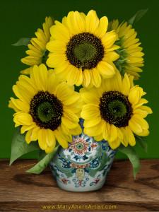 Sunflowers in Makkum Pot - Homage to van Gogh