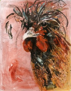 chicken with black feathers with peach background