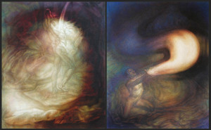 """Newberry, Give and Receive diptych, 1999, oil on linen, 82x132"""""""