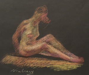Nude Sitting Pink and Gold
