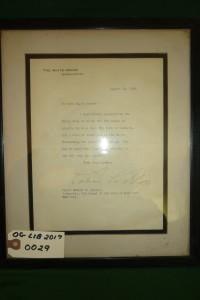 President Calvin Coolidge White House Letter dated 8/19/1923