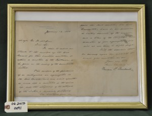 Letter of Regret from Francis F. Cleveland to Major McLean
