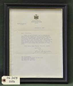 Letter of Thanks from the State of New York Executive Chamber, Albany