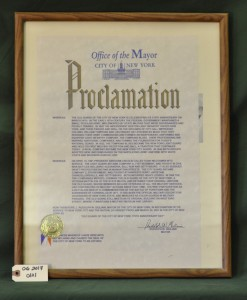Proclamation Made by Mayor Rudolph W. Giuliani