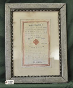 Certificate of Appreciation from The Utica Citizens' Corps to the Old Guard of New York