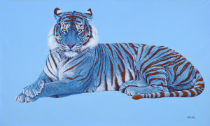 BLUE TIGER ON BLUE WITH RED STRIPES, 2014