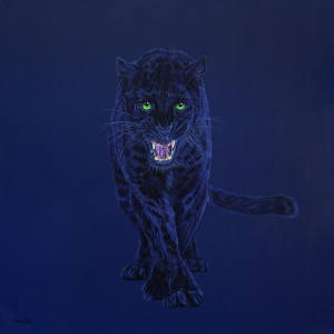 BLACK LEOPARD ON DARK BLUE, 2015