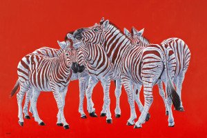 FIVE ZEBRAS ON RED, 2018