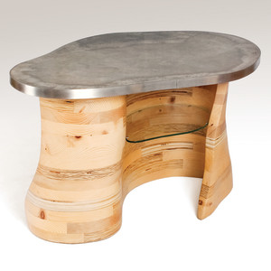 """Contours table, 2011 Reclaimed construction lumber, concrete and stainless steel, 21""""H, 39""""W, 26""""D"""