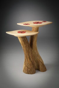Two Level Table with Red Poppy