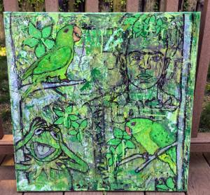 green. (Parakeets)