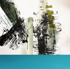 Composition #2 Triptych with Turquoise Stripe