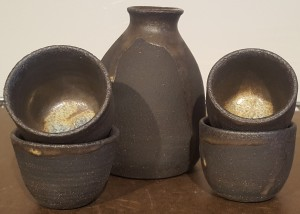 Black Stoneware Saki Set