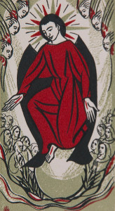 Untitled (Holy Cards--Red Jesus with 6 Angel Heads above and Many Human Figures below)