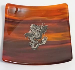 Plate with Silver Dragon Decal
