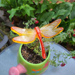 Plant Pick-Large Dragonfly in Orange/Yellow
