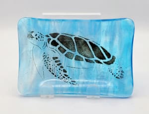 Soap Dish/Spoon Rest-Sea Turtle on Blue/White Streaky