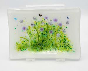 Soap Dish/Spoon Rest-Purple/White Flowers