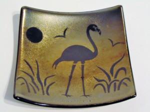 Flamingo on Gold Irid