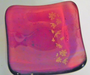 Small Dish-Multi-Colored with Golden Leaves
