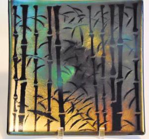 Bamboo Plate-Gold Irid