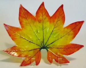 Aralia Leaf Plate-Autumn Colors