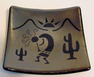 Kokopelli Plate-Silver Irid