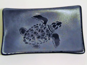 Soap Dish/Spoon Rest-Sea Turtle on Silver Irid