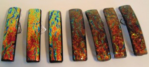 Barrette-Orange/Gold Rippled Dichroic, uncapped