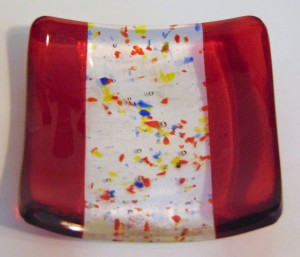 Small dish-Red with colorful frit