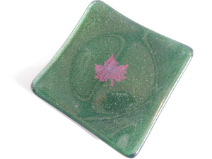 Small sushi adventurine green with copper maple leaf