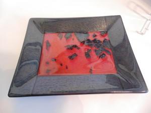 Rectangular Plate-Red and Black Irid