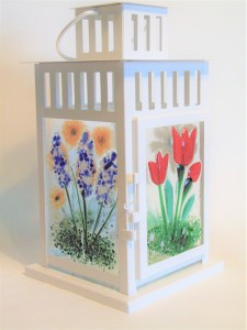 Lantern with Botanical Panels-White