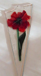 Plant Stake-Short with red poppy