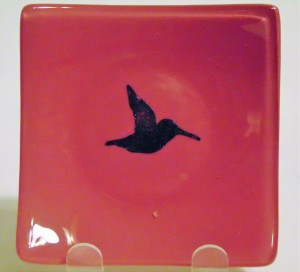 Dish-Pink with Copper Hummingbird
