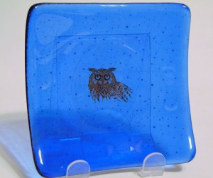 Plate-True Blue with Silver Owl
