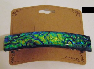 Barrette-Green/Gold Rippled Dichro, Capped