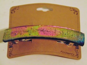 Barrette-Gold/Pink/Green Dichro, Capped