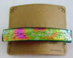 Barrette, Dichro-Gold/Pink Capped
