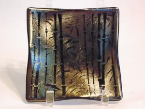 Bamboo on gold irid-small wavy plate