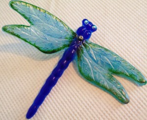 Dragonfly Yard Art-Cobalt with Turquoise Wings