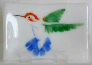 Soap Dish/Spoon Rest-Hummingbird on White