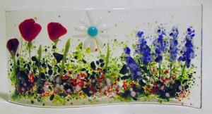 Garden Curve-Poppies, Daisy, Delphiniums