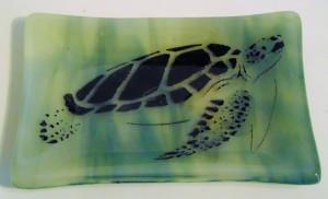 Soap Dish/Spoon Rest-Sea Turtle on Blue/Vanilla Streaky